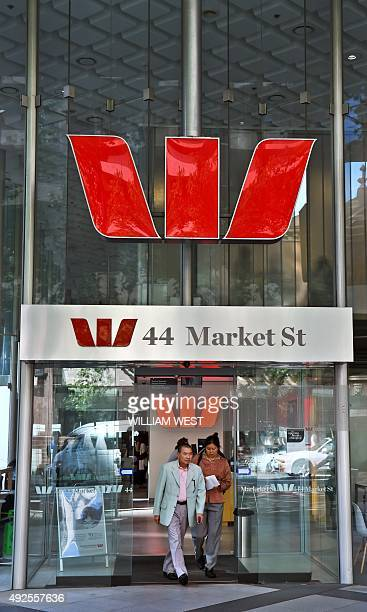 A Westpac Bank sign adorns a building in central Sydney on October 14 as the Australian banking giant said it was raising 35 billion AUD in capital...