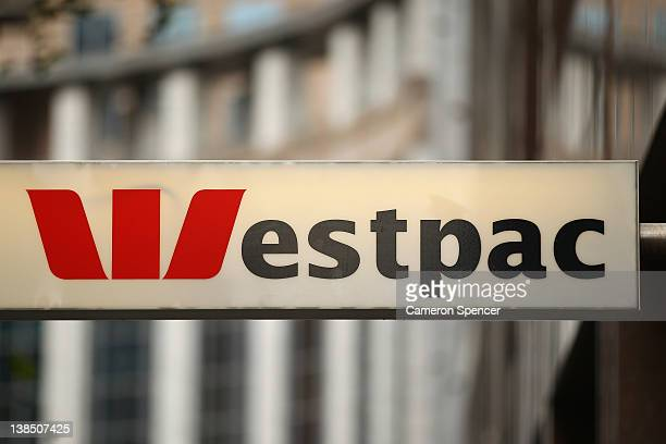 Westpac bank signage is seen on February 8 2012 in Sydney Australia The Reserve Bank of Australia yesterday passed on a rate cut keeping the cash...