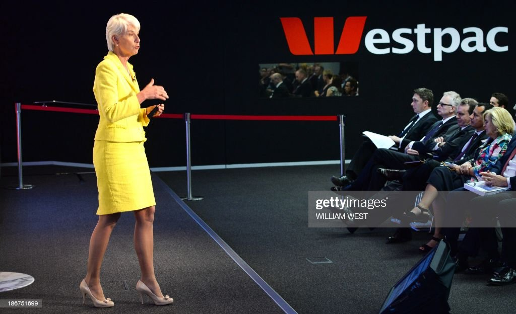 Westpac Chief Executive Gail Kelly speaks during a press briefing in Sydney on November 4, 2013, after the Australian banking giant posted a 14 percent jump in full-year net profit with all core divisions performing well, capping a bumper year for the country's major lenders. The result in the 12 months to September 30 came in at Aus$6.82 billion (US$6.44 billion), compared with Aus$5.97 billion the previous year. AFP PHOTO/William WEST