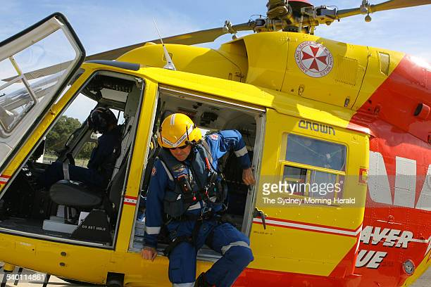 Westpac Helicopter rescue staff with during a routine check of equipment at their hangar in Sydney 14 September 2006 SMH Picture by BRENDAN ESPOSITO