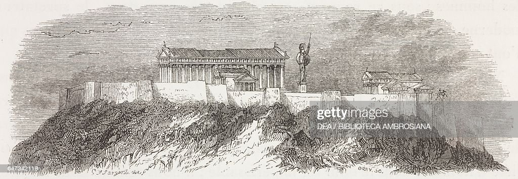 Westward view of the Acropolis of Athens engraving from Greece Pictorial Descriptive and Historical by Christopher Wordsworth