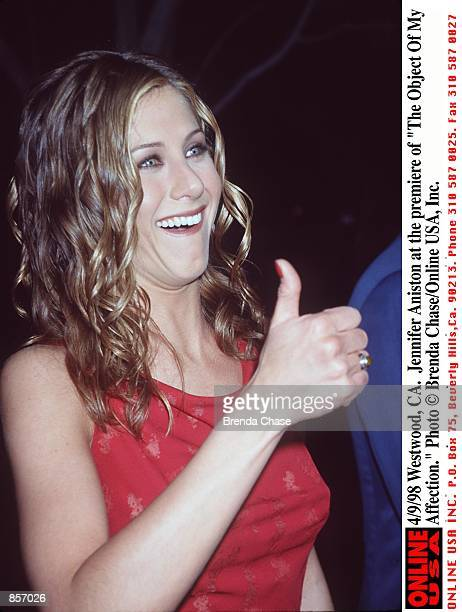 Westwood CA Jennifer Aniston at the premiere of 'The Object Of My Affection'