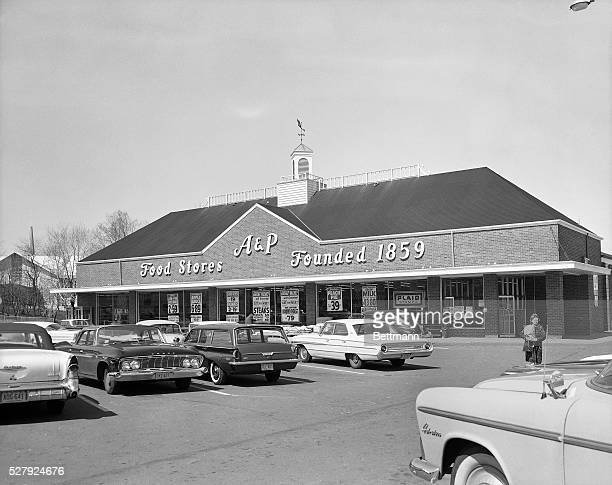 Westwood NJPhoto shows an A P Supermarket and its parking lot located at Westwood NJ Ca 1940s1950s