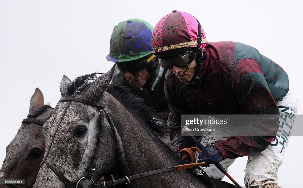 A wet and muddy day at Ascot racecourse on December 22, 2012 in Ascot, England.