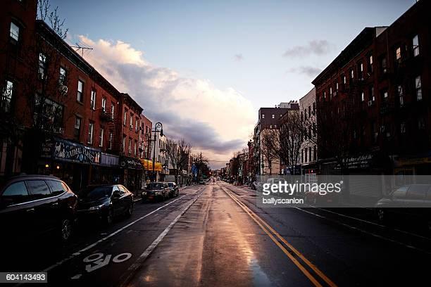 Wet Brooklyn street, after rain