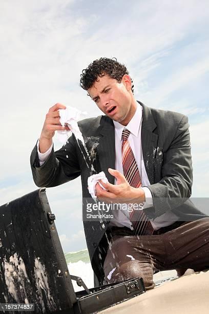 Wet Geschäftsmann alle washed-Optik. Alles verloren!