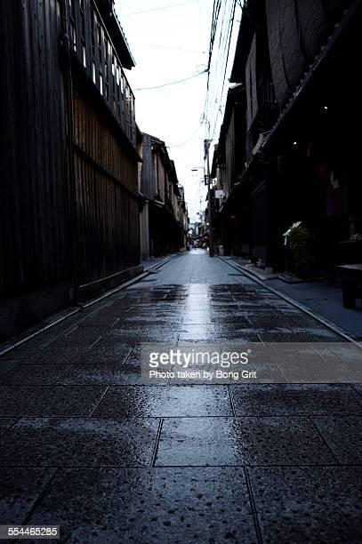 Wet cobbled alley