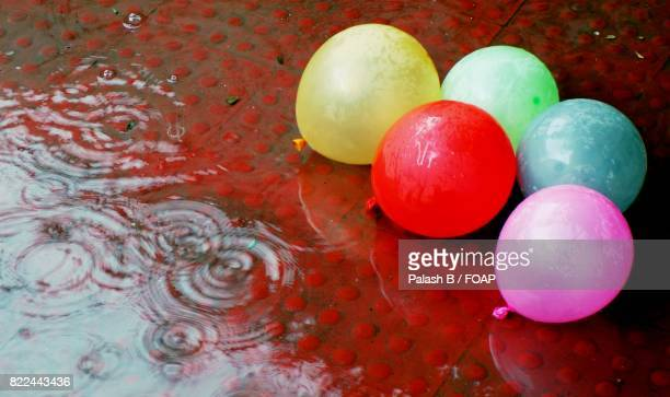 Wet colorful balloons