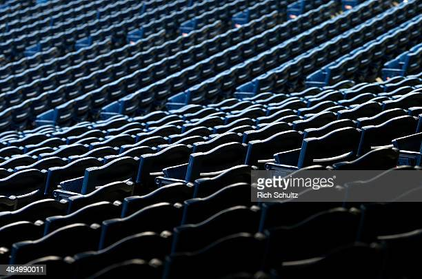 Wet empty seats are shown before the start of a scheduled game between the Atlanta Braves and the Philadelphia Phillies at Citizens Bank Park on...