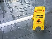 Wet floor sign in airport