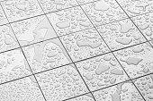 Water Raining on the tile floor.
