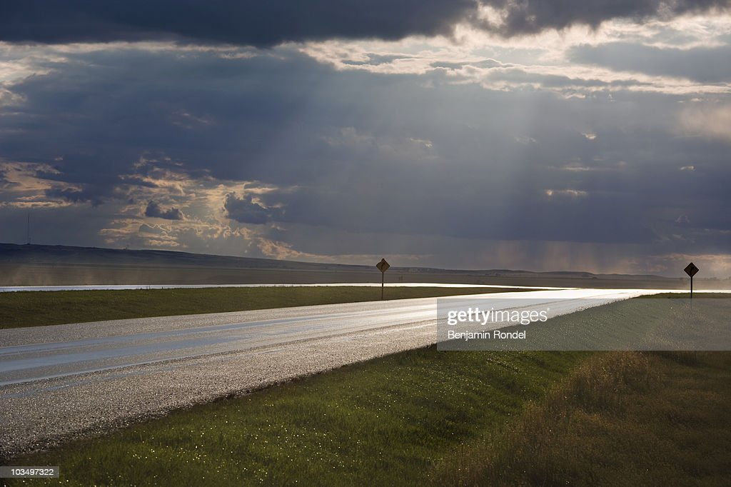 Wet highway : Stock Photo