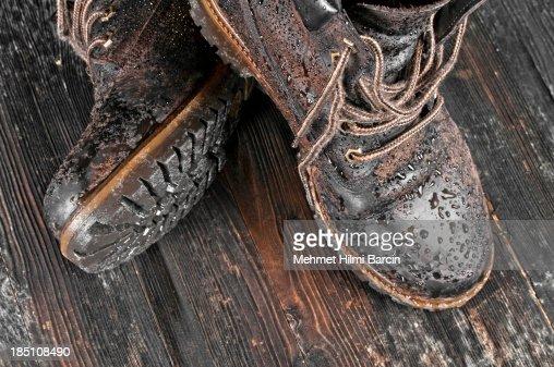 Wet hiking boot
