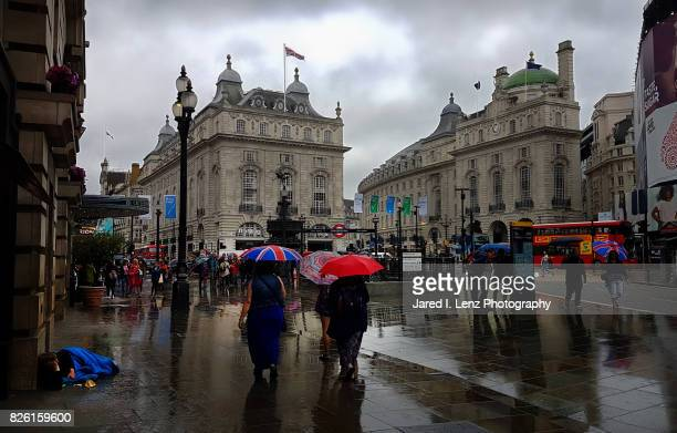 A Wet London Day at Piccadilly Circus