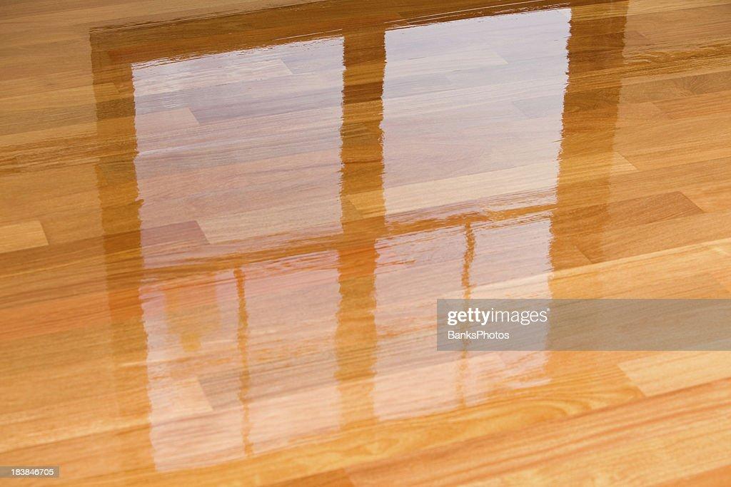 Wet Polyurethane On New Hardwood Floor With Window Reflection : Stock Photo
