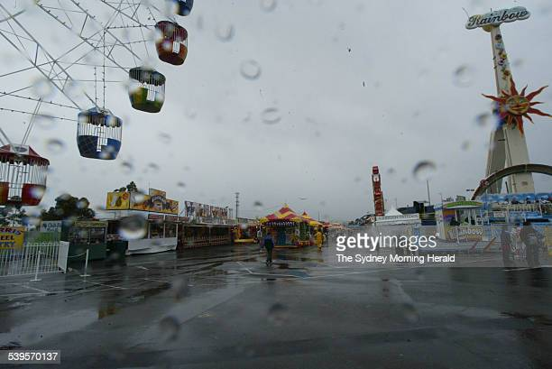 A wet sideshow alley at the Sydney Royal Easter Show on 23 March 2005 SMH NEWS Picture by PETER RAE