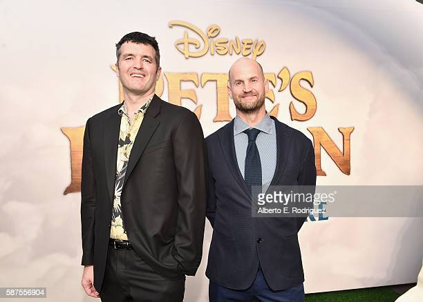 Weta Digital VFX supervisors Eric Saindon and Mike Cozens arrive at the world premiere of Disney's 'PETE'S DRAGON' at the El Capitan Theater in...