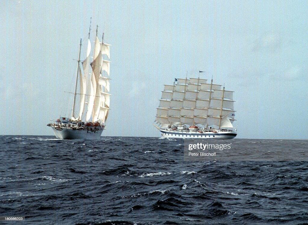 Segelschiffe auf dem meer  Wettsegeln, Karibik, Segelschiff 'Star;Clipper' (l.), Segelschif ...