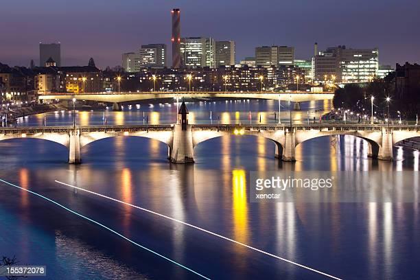 Wettstein Pont sur le Rhin, de nuit