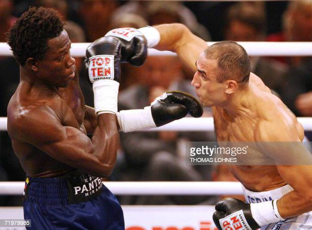Germany's Armenianborn Arthur Abraham fights against Colombia's Edison Miranda late 23 September 2006 at the Rittal Arena in Wetzlar IBF middleweight...