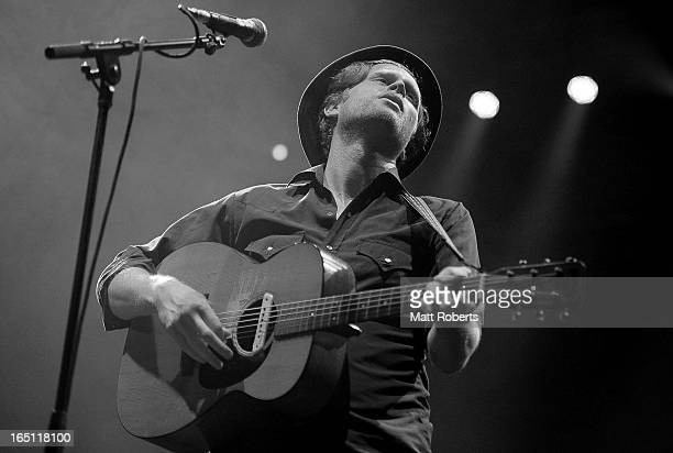 Wezley Schultz of The Lumineers performs on stage at Bluesfest 2013 Day 4 on March 31 2013 in Byron Bay Australia