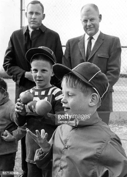 Whaddya Think We're Gonna do with 'Em Southeast Denver Little League players David Westcott left Richard Wiedman center and Joey Uhl contemplate...