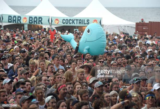 A whale inflatable crowd surfs during the Young the Giant performance at the Hangout Stage during 2017 Hangout Music Festival on May 21 2017 in Gulf...