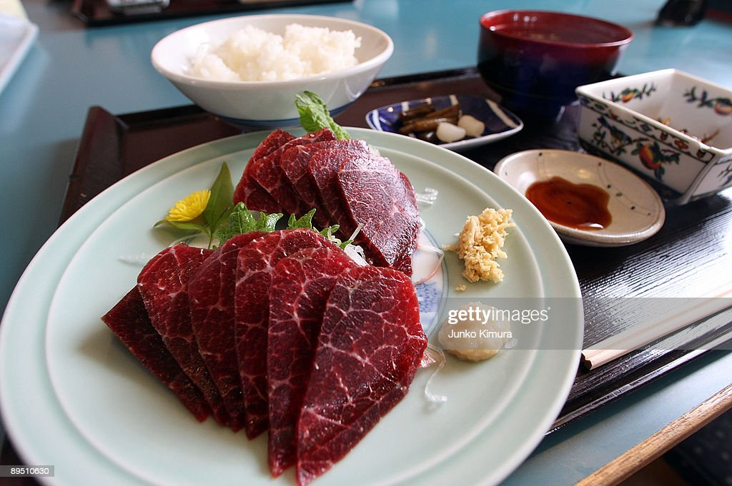 Whale meat Sashimi dish is seen at a restaurant near Wada Port on July 29 2009 in Minamiboso Chiba Japan Only five ports are allowed whaling under...