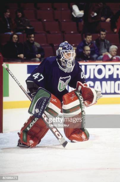 Whalers goaltender JeanFrancois Giguere in nets at the Molson Centre during the 199697 season