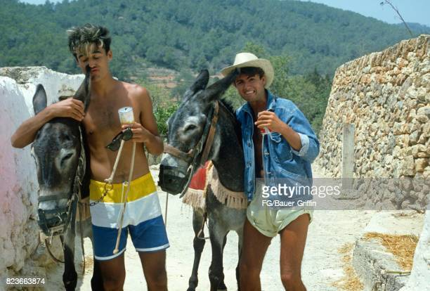 Wham during the recording of Club Tropicana at Pikes Hotel in Ibiza on March 16 1983 in Ibiza Spain 170612F1