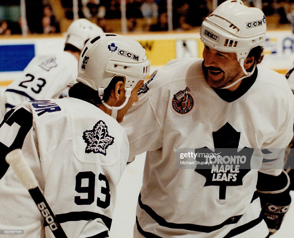 What a laugher: Glenn Anderson is all smiles after being congratulated by Doug Gilmour for one of hi