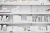 Shot of a shelf full of medication  and medication boxes all neatly placed next to each other in a pharmacy