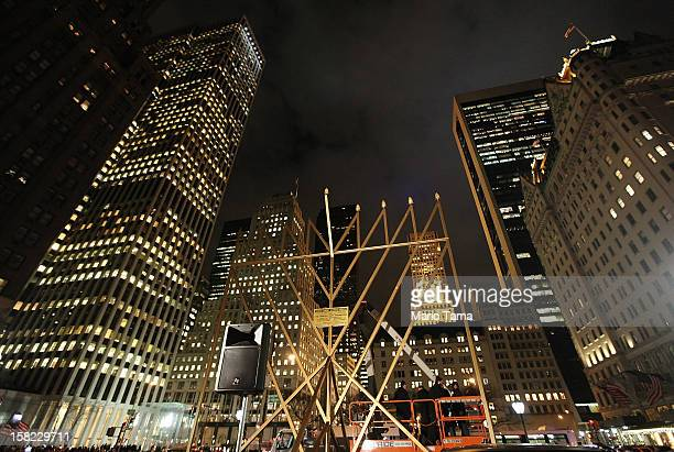 What is billed as the 'World's Largest Menorah' stands after a ceremonial lighting in Grand Army Plaza in Manhattan on December 11 2012 in New York...
