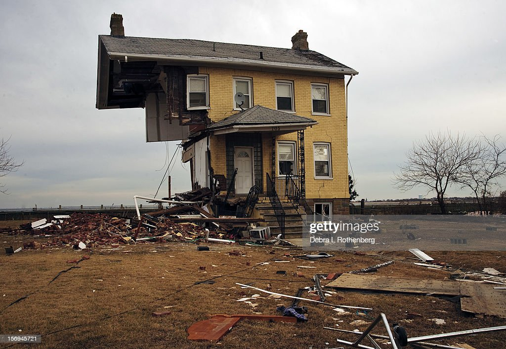 What is left of a house at 705 Front Street on November 16, 2012 in Union Beach, New Jersey. Hurricane Sandy devastated this small waterfront town on October 29, 2012. Residents who lived near the water were allowed back into town 3 days ago, only to find many of their homes are either gone or condemned.