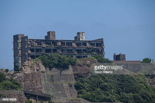What is left of the luxury housing that housed Hashima's doctors and upper management on July 16 2015 in Nagasaki Japan Hashima aka Battleship Island...