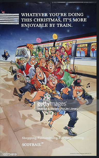 Whatever you're doing this Christmas it's more enjoyable by train Poster 1992 Poster ScotRail Cartoon style picture of crowd leaving a train led by...