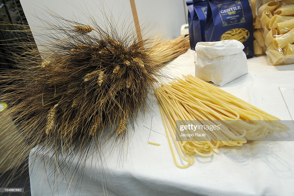 Wheat and pasta are displayed on a stand at the Slow Food's Salone del Gusto and Terra Madre on October 29, 2012 in Turin, Italy.