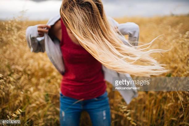 Wheat coloured hair