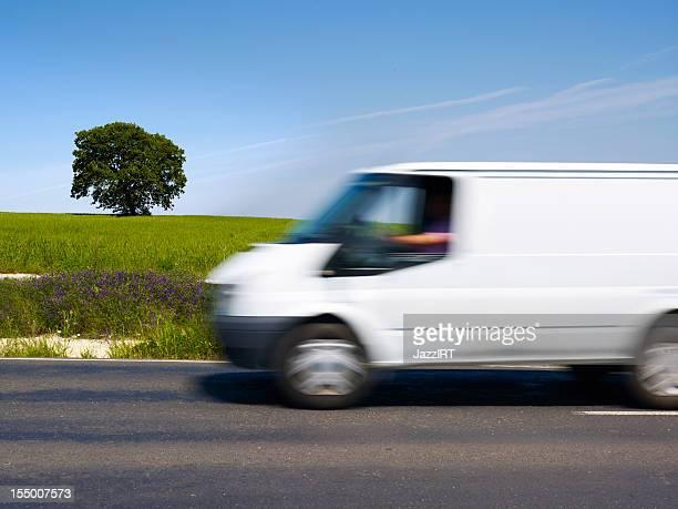 Wheat fields and white van