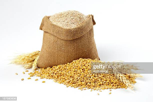 Wheat grain and bran sack
