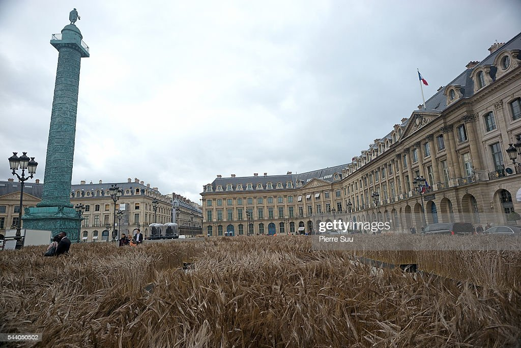 Wheat installation at Place Vendome by Artist Gad Weil on July 1, 2016 in Paris, France.