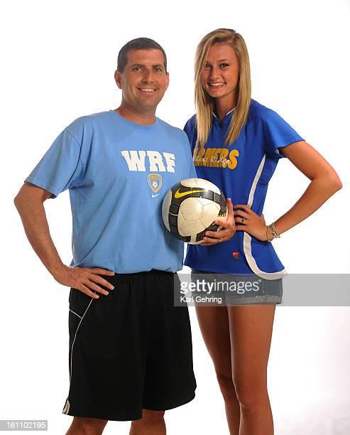 Wheat Ridge High School soccer coach Dan Watkins left and Wheat Ridge forward Annie Kunz right The Denver Post AllState athletes and coaches were...