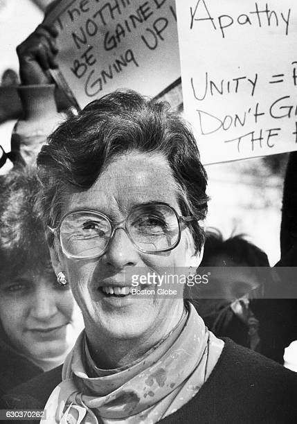 Wheaton College President Alice Emerson addresses Wheaton College regarding the issue of coeducation in Norton Mass on Feb 4 1987 Students protested...