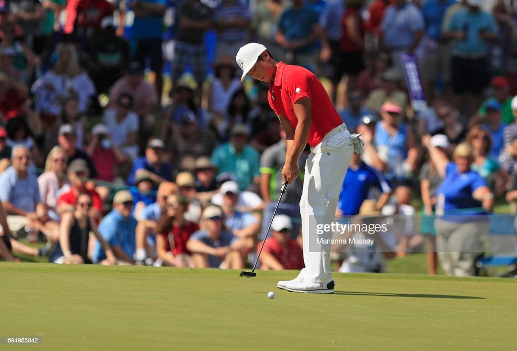 Whee Kim of Korea putts on the 18th hole during the final round of the FedEX St. Jude Classic at the TPC Southwind on June 11, 2017 in Memphis, Tennessee.