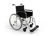 Wheel chair on white background 3D rendering