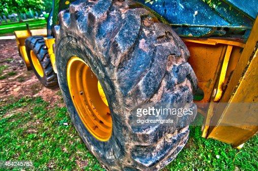 Wheel loader Excavator with backhoe : Stock Photo