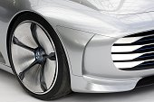 A wheel of a Mercedes IAA concept car is on display during the Mercedes Benz exhibition 'Les Belles Etoiles' at 'Le Grand Palais' on July 12 2016 in...