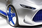 A wheel of a Mercedes Vision Tokyo concept car is on display during the Mercedes Benz exhibition 'Les Belles Etoiles' at 'Le Grand Palais' on July 12...