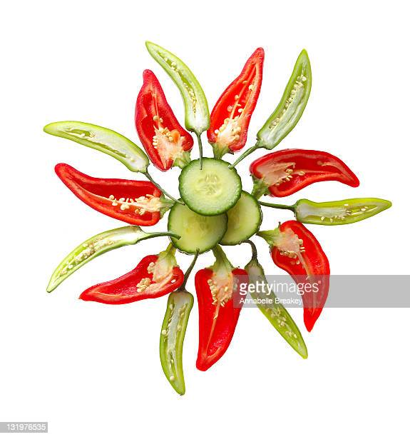 Wheel of Cucumber, Red Peppers and Green Peppers