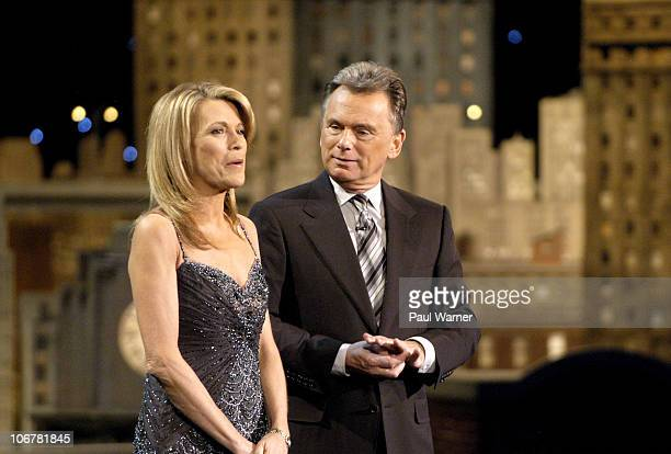 Wheel of Fortune hosts Vanna White and Pat Sajak address the audience while taping episodes of the game show at Navy Pier on March 7 2008 in Chicago...